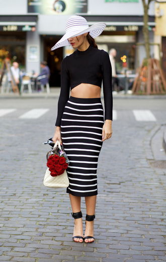 from brussels with love blogger hat high waisted skirt striped skirt bodycon skirt pencil skirt black crop top cropped sweater two-piece sun hat spring skirt straw hat big hat