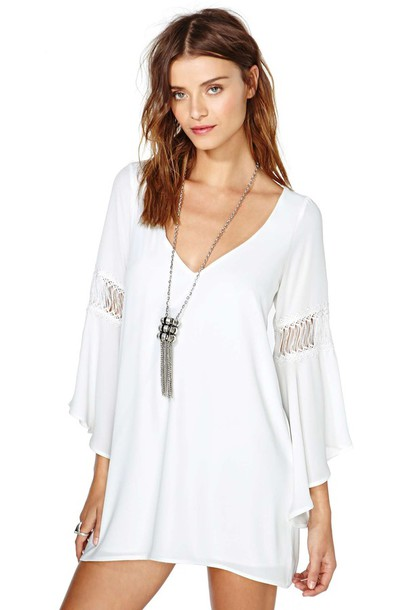White Wedding Hippie Dresses dress white bell sleeve angel