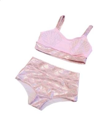baby pink swimwear mermaid two-piece