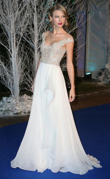 dress, taylor swift, white dress, long prom dress - Wheretoget