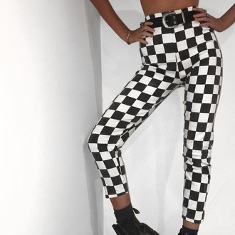 pants checkered high waisted black and white