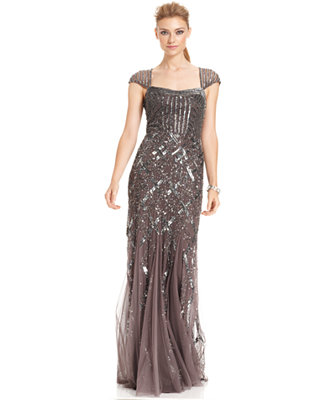 Adrianna Papell Cap Sleeve Sequined Gown Dresses Women Macy S