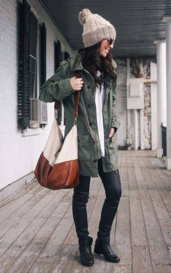 green military style jacket fall outfits leather bag