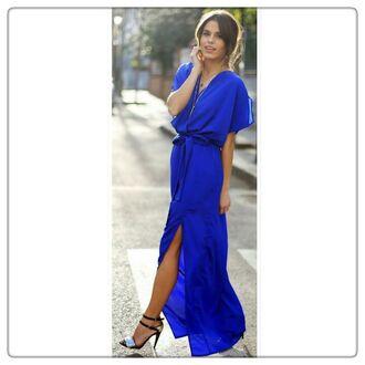 dress cobalt blue maxi dress front split maxi skirt
