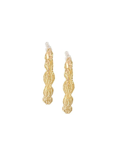 Wouters & Hendrix Gold women earrings hoop earrings gold yellow grey metallic jewels