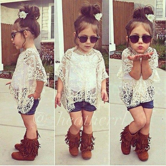 blouse adorable white shoes lace cute outfits shorts fringe boots sunglasses hippie boho gypsy