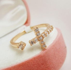 2014 Fashion Exquisite Rhinestone Cross Cuff Finger Rings XY R106 -in Rings from Jewelry on Aliexpress.com | Alibaba Group