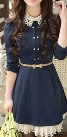 dress blue dress lace collar mini bow belt