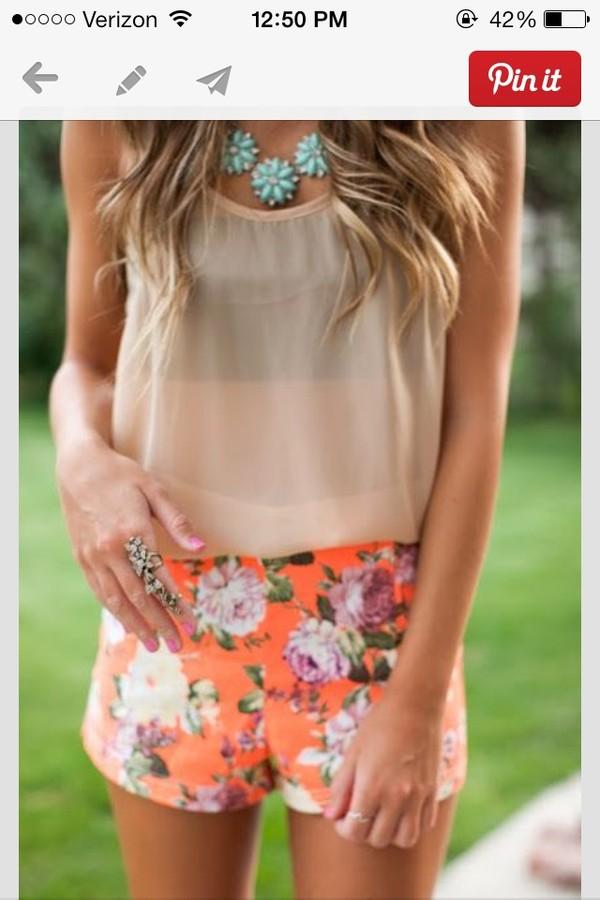 jewels tank top shorts blouse top beige orange floral t-shirt