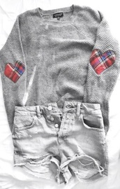 sweater,grey,checkered,elbow patches