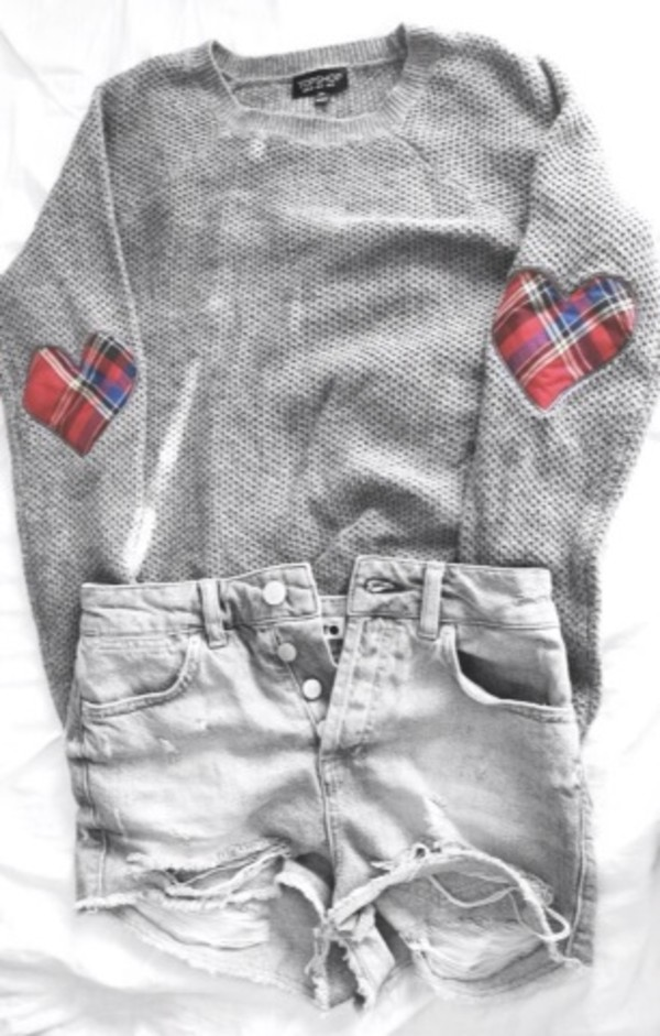 sweater grey checkered elbow patches