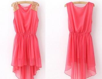 Pink High Low Dress With Gold Shining Shoulder  on Luulla