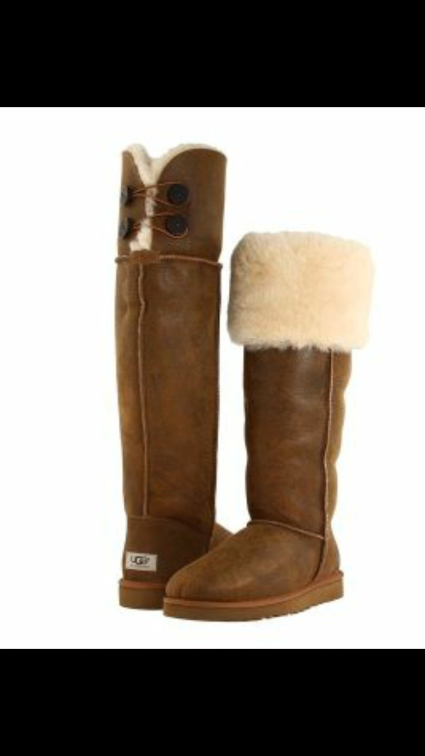 UGG WOMEN BOOTS CLASSIC TALL BAILEY BUTTON TRIPLET BOMBER CHESTNUT ...