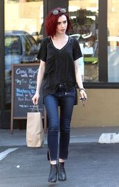 jeans,top,lily collins,ankle boots,skinny jeans,zipped pants