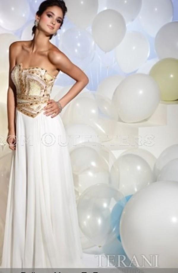 dress prom dress white dress terani couture pink gold rhinestones diamonds white gold prom dress