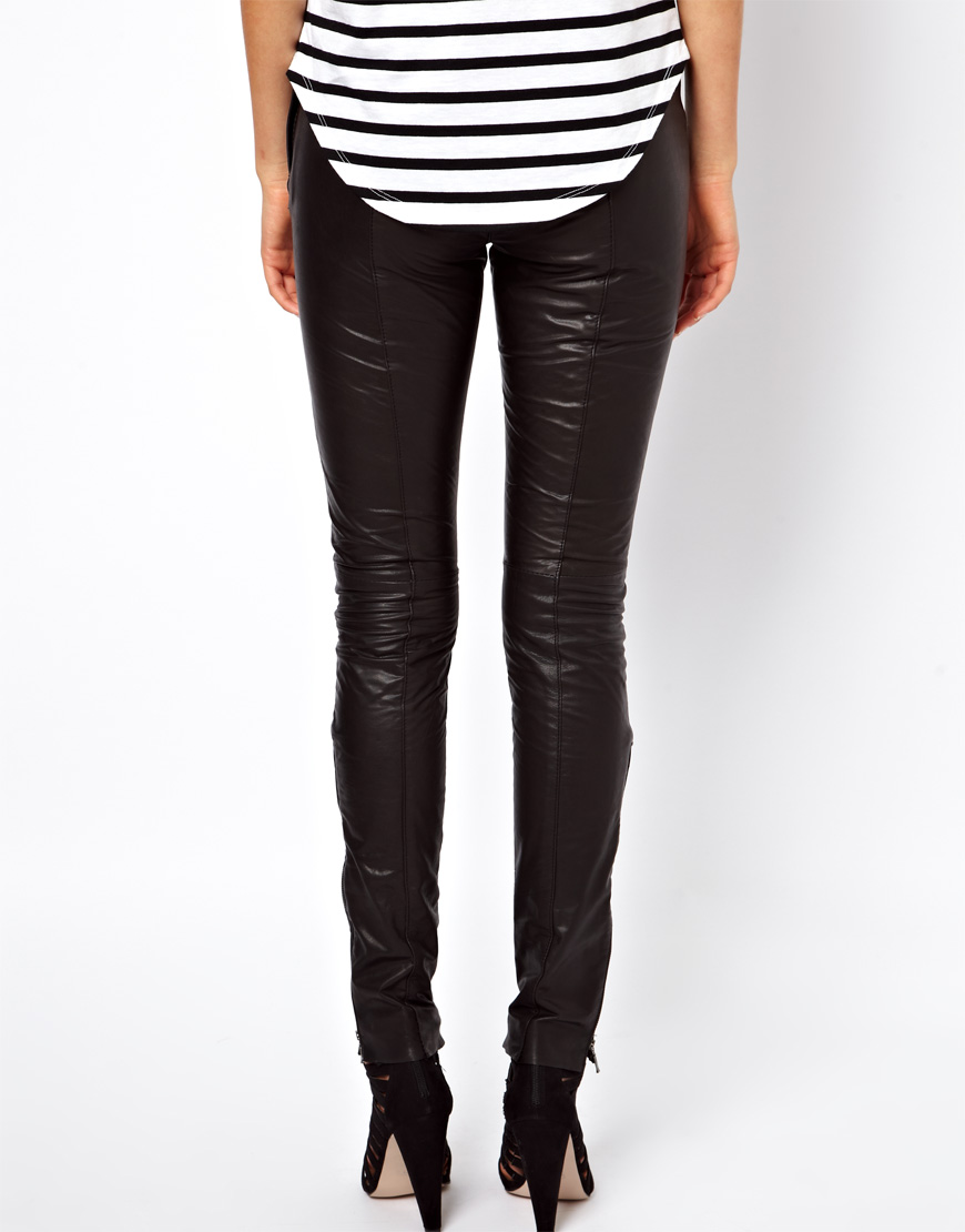 Selected Sabrina Zip Leather Trousers at asos.com