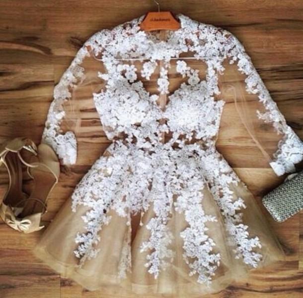 Nude Dress Lace Dress White