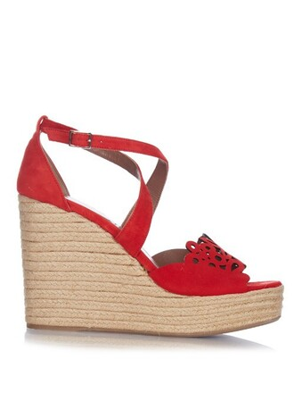 sandals wedge sandals suede red shoes