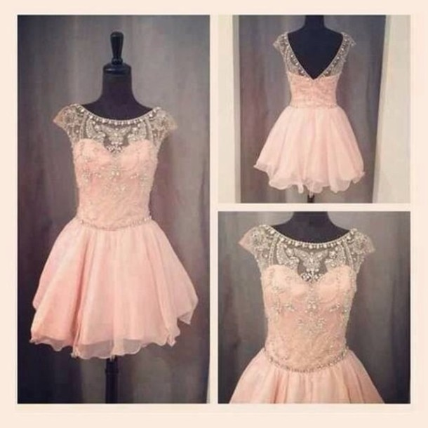 Dress Pink Prom Prom Dress Short Party Dresses Pastel Pink By