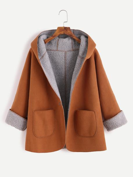 coat romwe coat romwe hooded jacket high school brown coat winter outfits winter coat oversized oversized coat