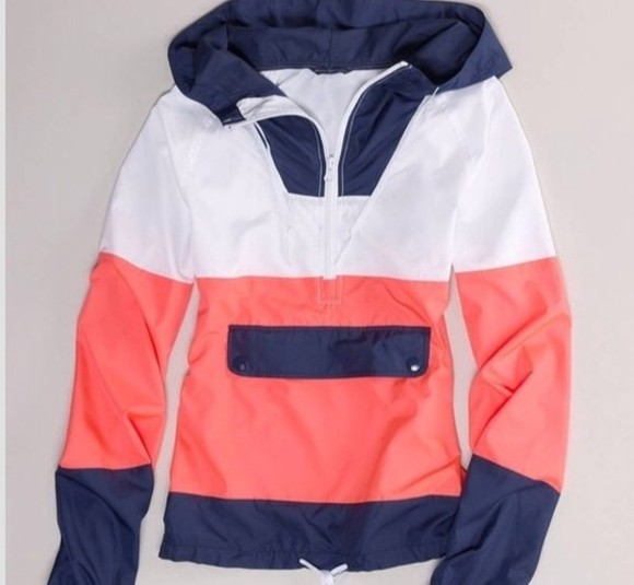 jacket zip-up coat navy coral white rain jacket stripped