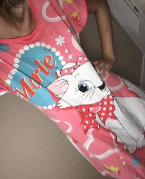 shirt disney pink white long shirt nightwear t-shirt pajamas
