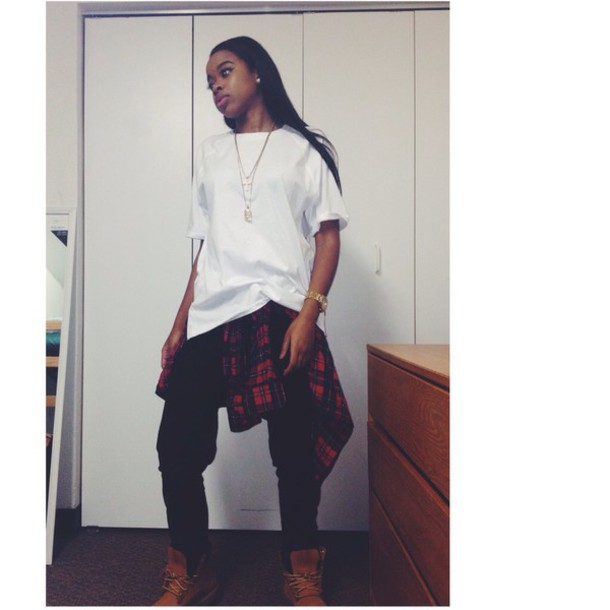 shoes timberland boots shoes flannel shirt india love white t-shirt gold necklace zip american eagle jeans blouse