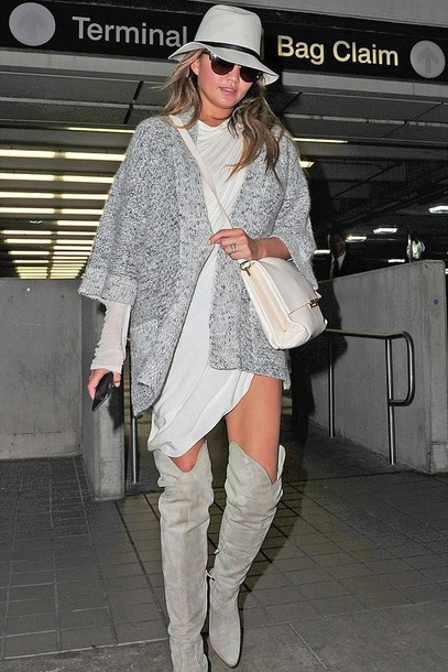 cardigan grey chrissy teigen boots knee high boots over the knee boots hat purse shirt