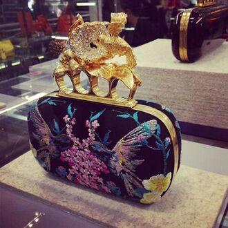 bag floral gold