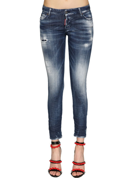 DSQUARED2 Jennifer Army Fade Cotton Denim Jeans in blue