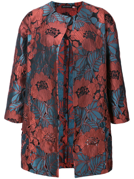 jacket embroidered women red