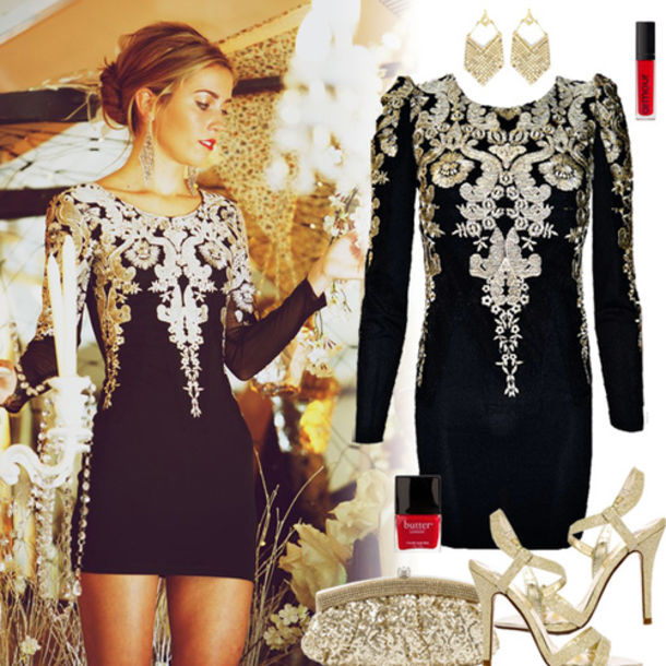 dress, baroque, bodycon, black, black and gold, new year's ...