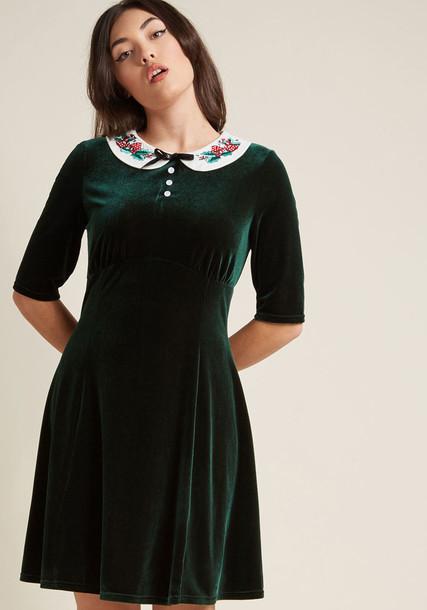 4769 dress velvet dress retro bunny embroidered dark new candy tree number white velvet green red
