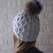 hat,pom pom beanie,cashmere hat,cashmere beanie,grey,grey hat,hatsandotherstories,fur pom pom