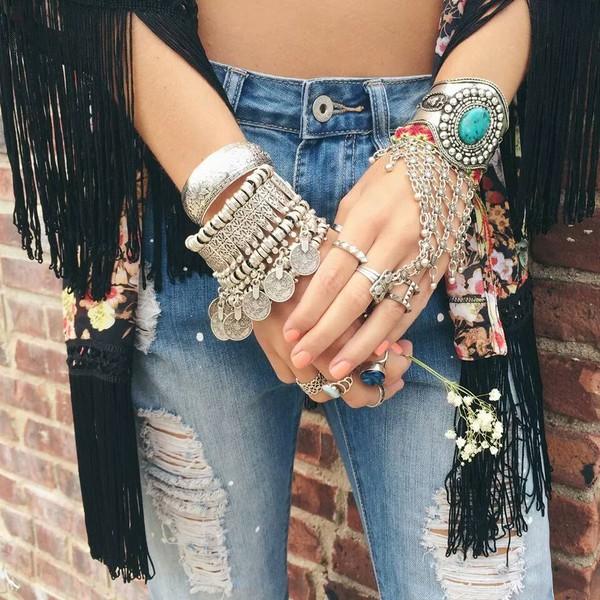 jewels jewelry boho bohemian chunky bracelets