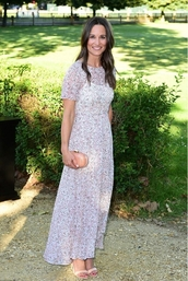 dress,pippa middleton,sandals,bag,maxi dress