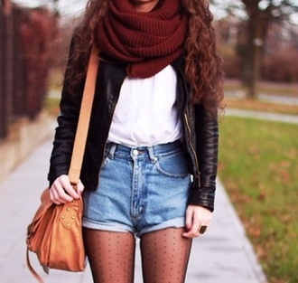 shorts bag jacket scarf high waisted jean shorts red scarf black leather jacket brown purse