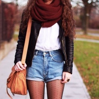 scarf jacket shorts bag black leather jacket red scarf high waisted jean shorts brown purse scarf red