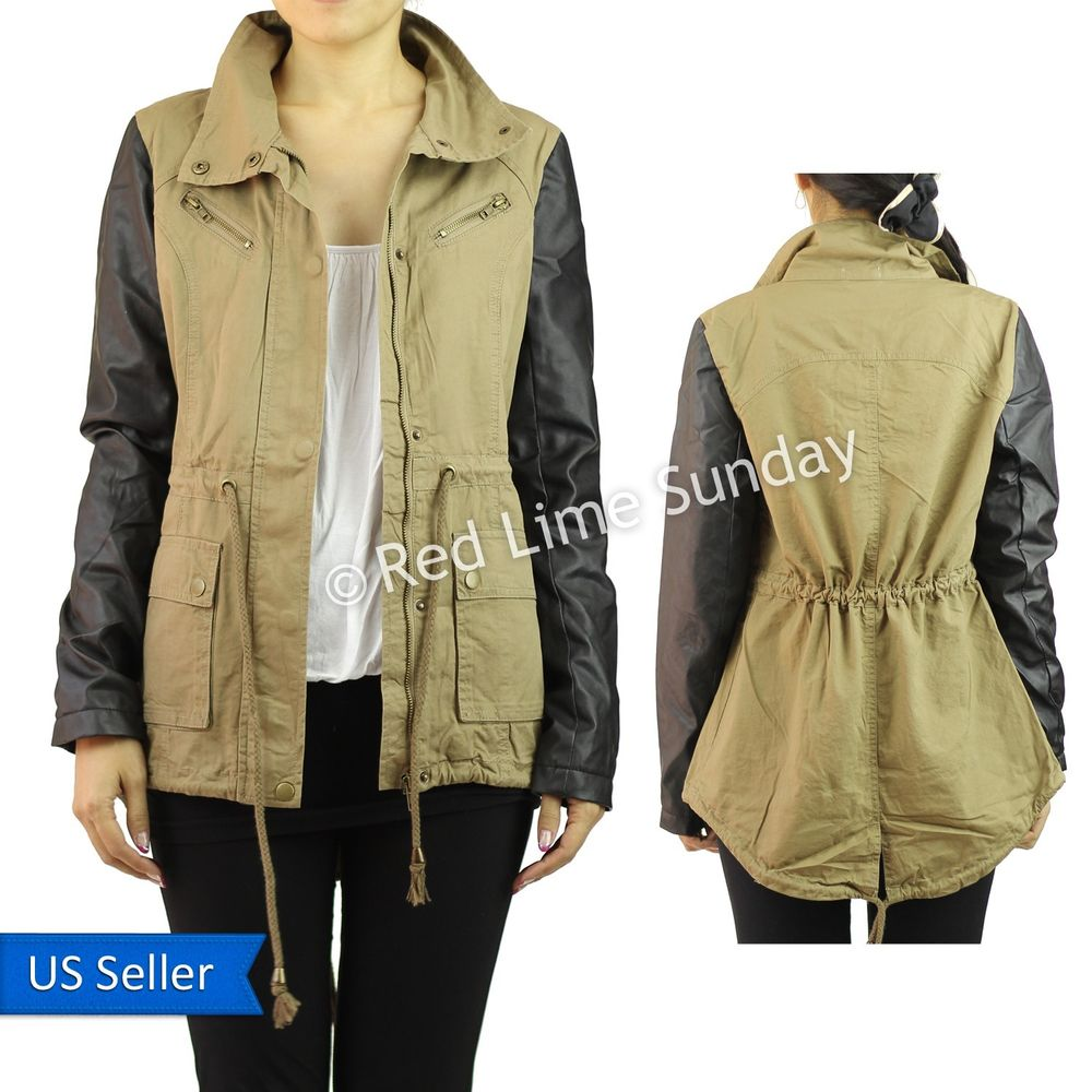 New Khaki Army Cotton Military Jacket Faux Leather Sleeve Coat Rider Zip Button