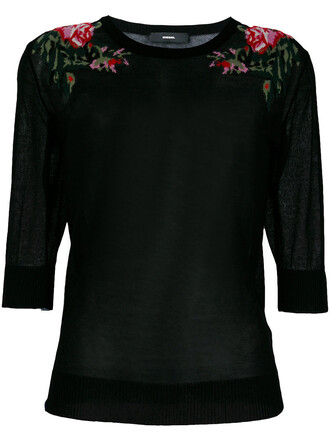 top knitted top women cotton black