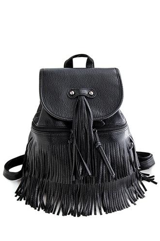 bag backpack zaful black black bag fringes fringed bag trendy grunge