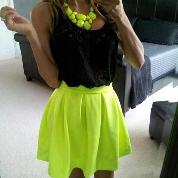 Neon Green Skater Skirt September 2017