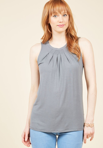 MCT1138 tank top top casual pleated cool style pretty grey