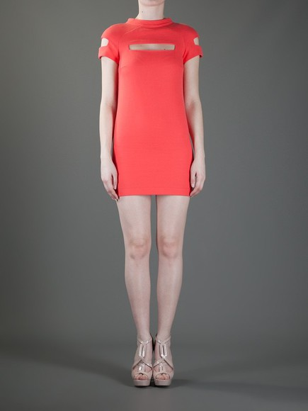 dress salmon cut-out dress mini dress thierry mugler vintage