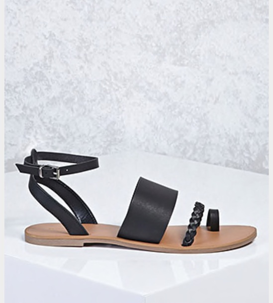 shoes black sandals braided sandals ankle strap cute flat sandals cute black braided sandal cute sandals