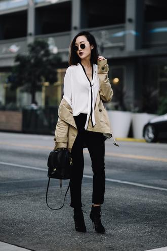 the chriselle factor blogger coat blouse pants shoes bag