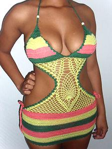 Sexy yellow green pink rasta jamaica hand crochet monokini swimdress 8