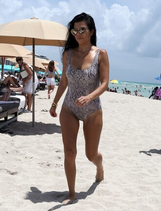 swimwear animal print summer kourtney kardashian one piece swimsuit kardashians beach sunglasses