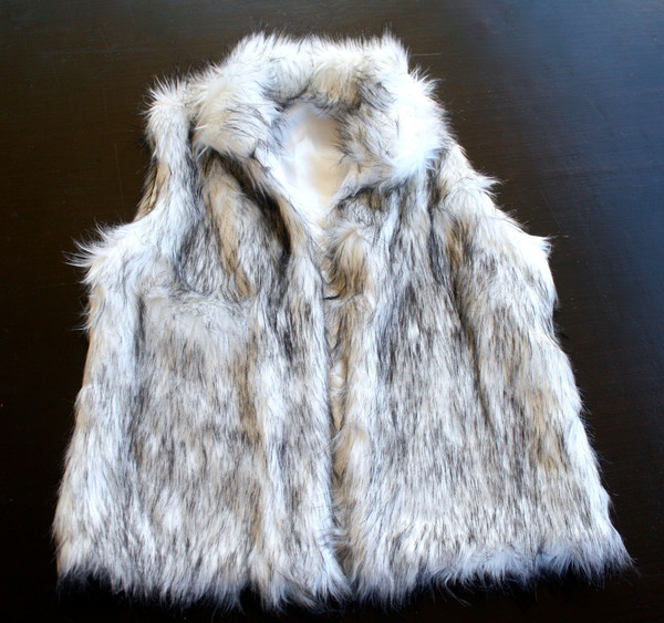 Salt and pepper faux fur vest