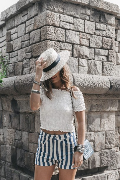 2016 | collage vintage blogger straw hat off the shoulder off the shoulder top peasant top white top white crop tops striped shorts summer shorts chanel bag shoulder bag h&m black shoulder bag